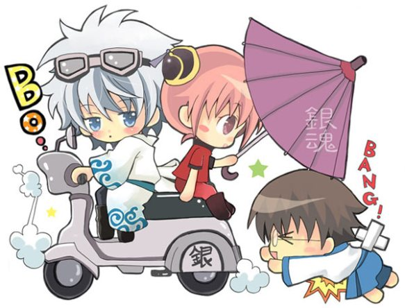 Gintoki, Kagura and Shinpachi